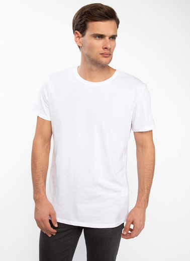 DeFacto Long Fit Basic Kısa Kollu T-shirt Beyaz